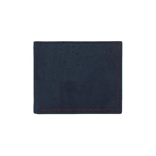VEGAN MEN'S COIN WALLET  BLUE / 二つ折り財布 ブルー&ブラウン コルク製 小銭入れ付き