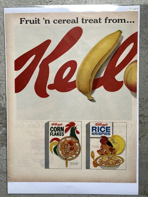 450  アメリカ USA  ビンテージ チラシ 広告 切り抜き インテリア 50s 60s  LIFE Kellogg's ケロッグ コーンフレーク