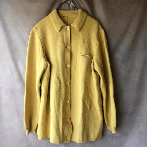 lemon yellow knit cardigan/黄色レモン襟付きカーディガン