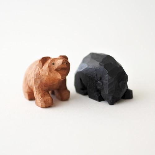 小さな木彫りの熊の兄弟 A(2つセット)