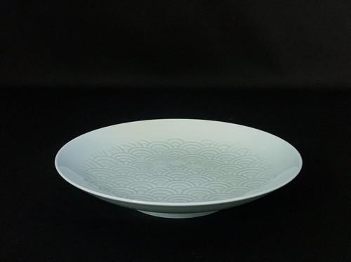 【井上萬二作】青白磁青海波文皿(大)