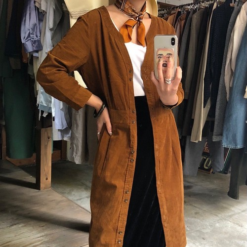 camel design corduroy long shirt