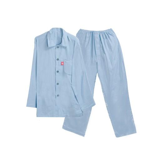 【日本製】【ナチュラル・レナ】(綿100%)長袖 前開き 上下セット・ダブルガーゼ・パジャマ(メンズ襟付き)nr-030