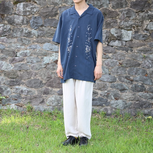 USA VINTAGE COCKTAIL PATTERNED EMBROIDERY SHIRT/アメリカ古着カクテル柄刺繍シャツ