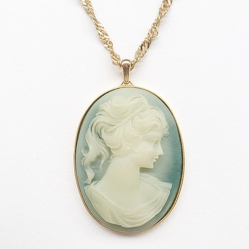 blue cameo necklace[n-174]