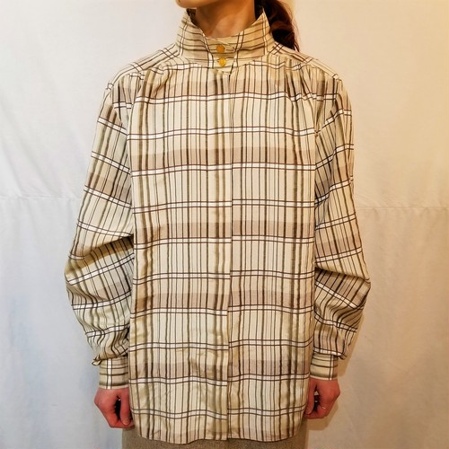 Check pattern stand-collar blouse [G-487]