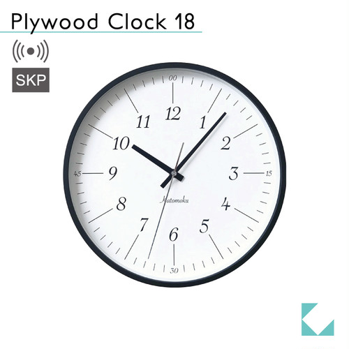 KATOMOKU plywood clock 18 km-110BRRCS ブラック SKP電波時計
