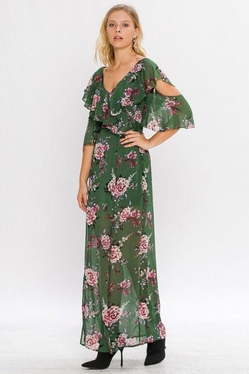 Flower Maxi Dress(Olive)