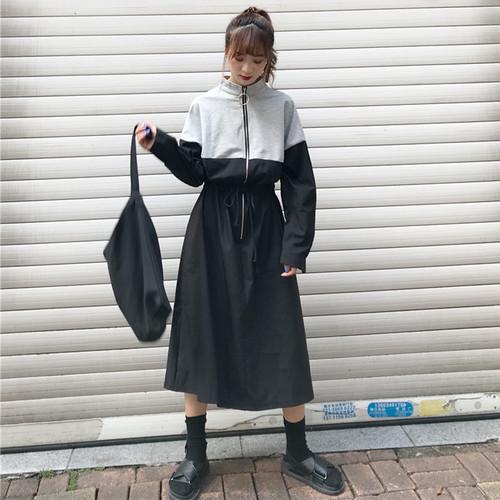【ワンピース】カジュアルハイウエスト配色長袖カジュアルワンピース14982740