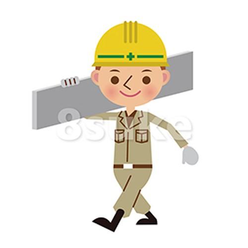 イラスト素材:建材を運ぶ土木作業員(ベクター・JPG)
