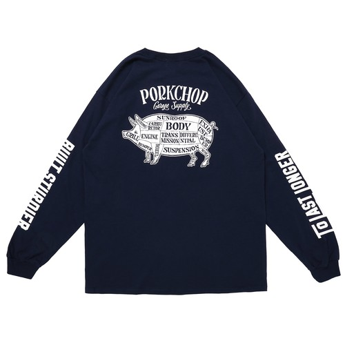 PORK BACK L/S TEE/NAVY
