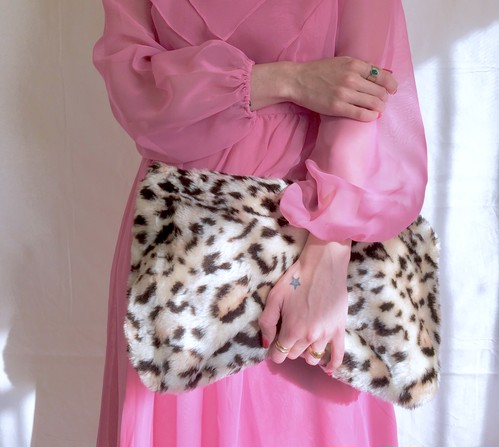 vintage leopard faux fur clutch bag