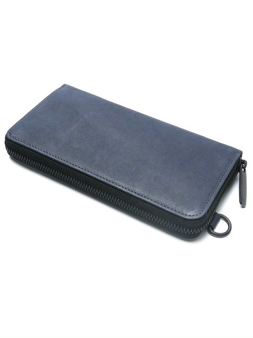183AWA07 Leather long wallet fold 'minimal' shine 2 col ラウンドファスナーロングウォレット