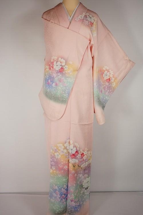 花づくし たたき染め 友禅 訪問着 パステルカラー ピンク 165