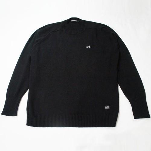 サドルショルダー・クルーネック・セーター  BLACK