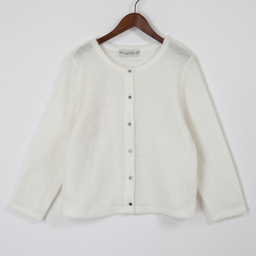 mohair knit cardigan / white