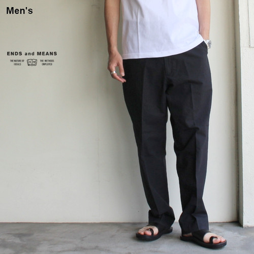 ENDS and MEANS  綿麻ワークトラウザー Work Chino  EM-ST-P01-SS (ブラック)
