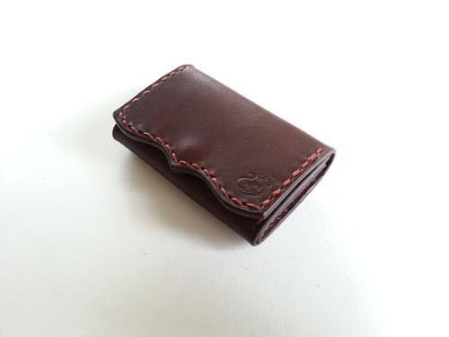 コインケース【革:焦げ茶 糸:茶色】