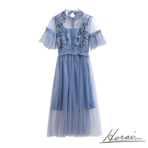 ドレス 半袖 ロング丈 ウエストゴム 透け感 装飾 ワンピース ワンピドレス お呼ばれ 結婚式 二次会 パーティー 【お取り寄せ】