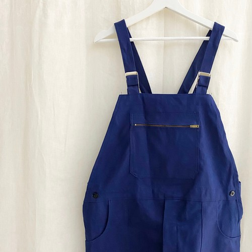 "FRANCE 70s〜vintage""LE MINEUR""ink blue cotton twill salopette(overall) DEAD STOCK"