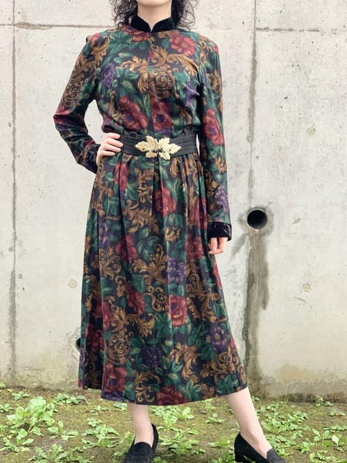 Vintage Velvet & Rayon Floral Dress Made In USA