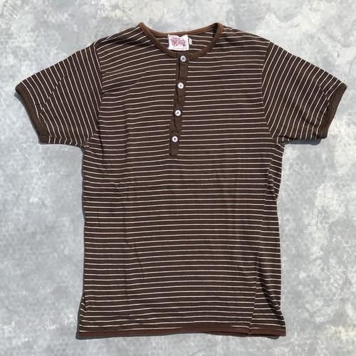 60's Parkley ボーダーヘンリーネックTシャツ パイピング USA ブラウン Lサイズ 希少 ヴィンテージ