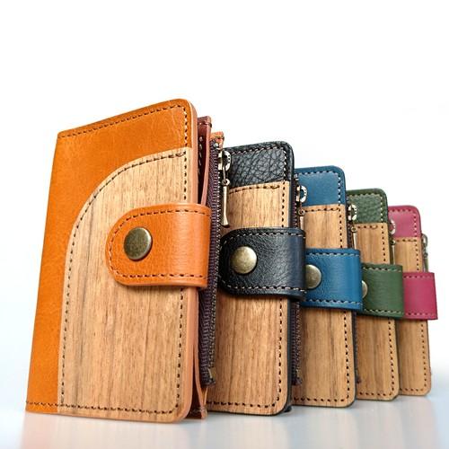 木と革のマルチなキーケース --- 5色