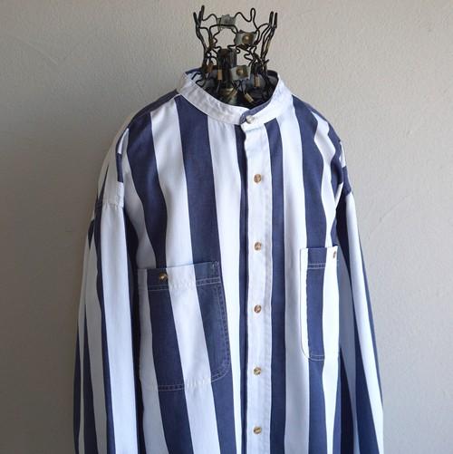 1990's [CACTUS] ブロックストライプ柄 スタンドカラーシャツ ホワイト×ネイビー 表記(L)