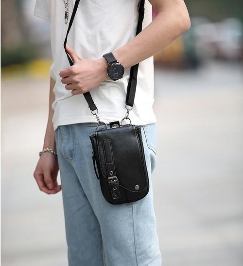 kawauso【薄型 2way ベルト ショルダー ボディバッグ シザーバッグ ウエスト】仕事 合皮 レザー 革 革製/薄くて便利 カード 仕事 ビジネス たち仕事 メンズ