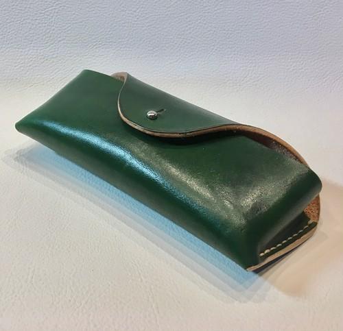本革製メガネ・ケース(緑革)gc016