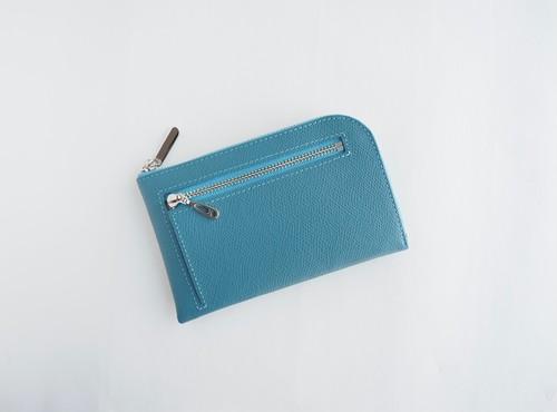 薄くて軽いコンパクトな財布 10枚カードポケット カラフルブルーグレー スクイーズ