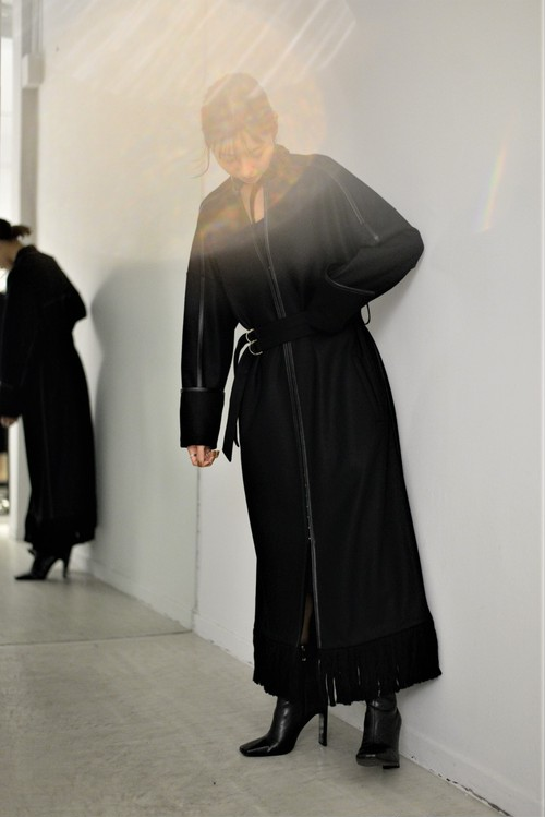EBONY / Wool melton Dress Coat (black)