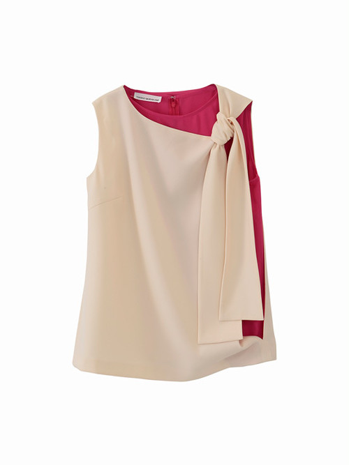 Side colour tops  / cream × pink / S16TP04