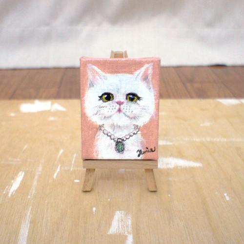 手描きミニキャンバス(イーゼル付き)どろぼうねこシリーズ「ネックレス」 minic-cat 04