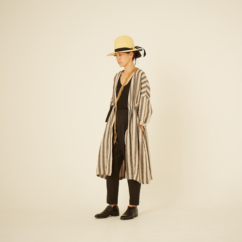 women's stripe linen gown coat