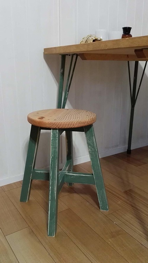 丸スツー  木製丸椅子   (ミントグリーン×アンティークパイン:43cm)