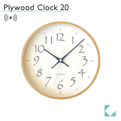 KATOMOKU plywood clock 20 km-119BLRC 電波時計