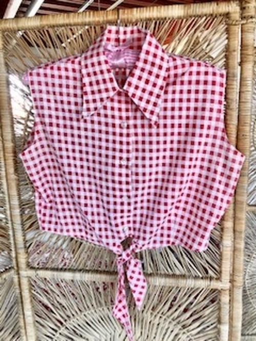Vintage ギンガムチェックノースリーブ シャツ