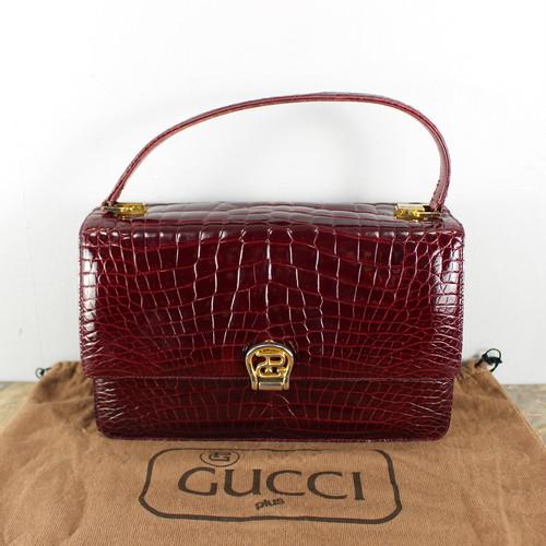 .50's~60's VINTAGE GUCCI CROCODILE LATHER HAND BAG MADE IN ITALY/オールドグッチクロコダイルレザーハンドバッグ 2000000044132