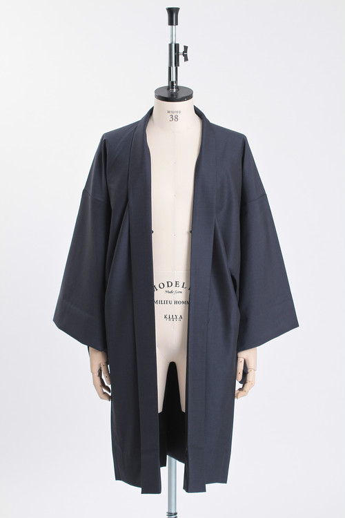 羽織 / Silk-wool / Dark navy(With tailoring)