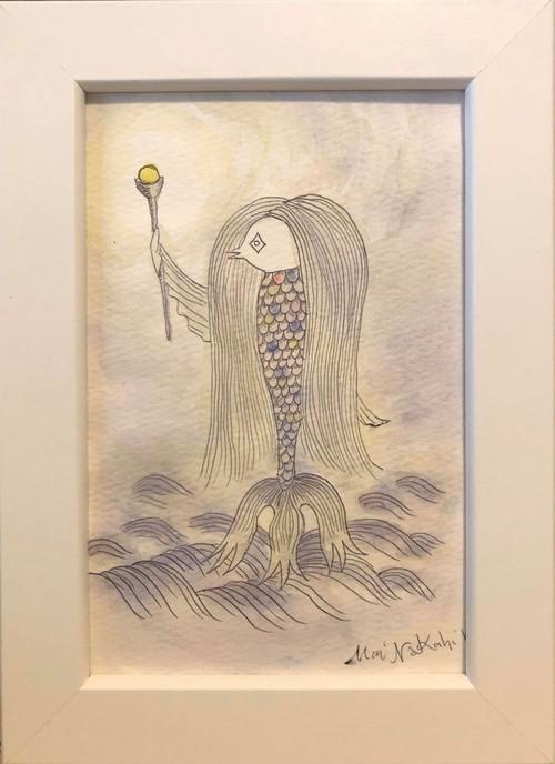 なかひらまい絵画作品『アマビエ』(ボールペン、水彩絵の具)
