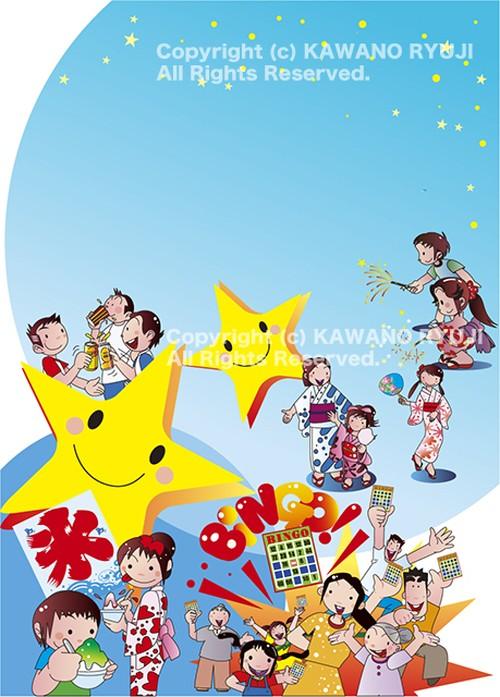 夏祭りポスターイラスト_ベクターイラスト販売