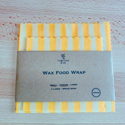 Vegan Wax Food Wrap (Yellow Stripe S/M 各1枚)