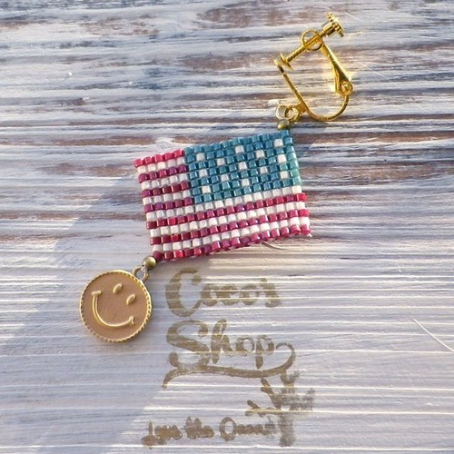 Flag One Yar Earing~Aamericanflag&Smile~