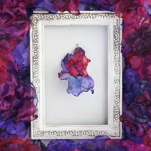 『ゆらめき』魅惑の炎 no,5|赤と紫のゆれるアートピアス