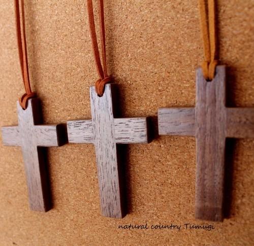 木の十字架(クロス)ネックレス#3
