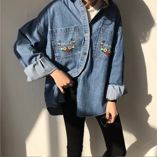 【即日発送】ダブルポケット 刺繍 デニムシャツ ts4066