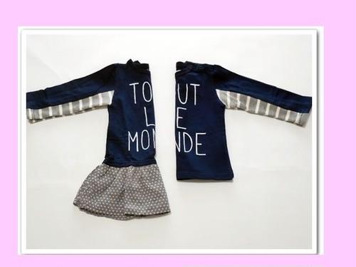 双子ベビー服2枚セット   ミックスツイン  ロゴすそフリルチュニック&ロゴ長袖Tシャツ(コン色)<15aw-mt003r-B>