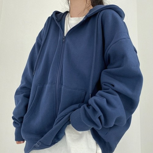 パーカー ジップアップ フード付き アウター トレーナー スウェット ルーズ ゆったり オーバーサイズ 裏起毛 厚い 厚手 長袖 綿 コットン