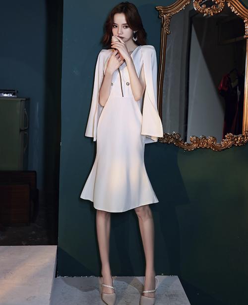ホワイト ミディ丈 マット ドレス パーティードレス TM0181